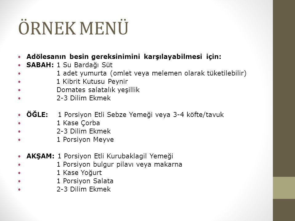 ÖRNEK MENÜ Adölesanın besin gereksinimini karşılayabilmesi için: SABAH: 1 Su Bardağı Süt 1 adet yumurta (omlet veya melemen olarak tüketilebilir) 1 Kibrit Kutusu Peynir Domates salatalık yeşillik 2-3 Dilim Ekmek ÖĞLE: 1 Porsiyon Etli Sebze Yemeği veya 3-4 köfte/tavuk 1 Kase Çorba 2-3 Dilim Ekmek 1 Porsiyon Meyve AKŞAM: 1 Porsiyon Etli Kurubaklagil Yemeği 1 Porsiyon bulgur pilavı veya makarna 1 Kase Yoğurt 1 Porsiyon Salata 2-3 Dilim Ekmek