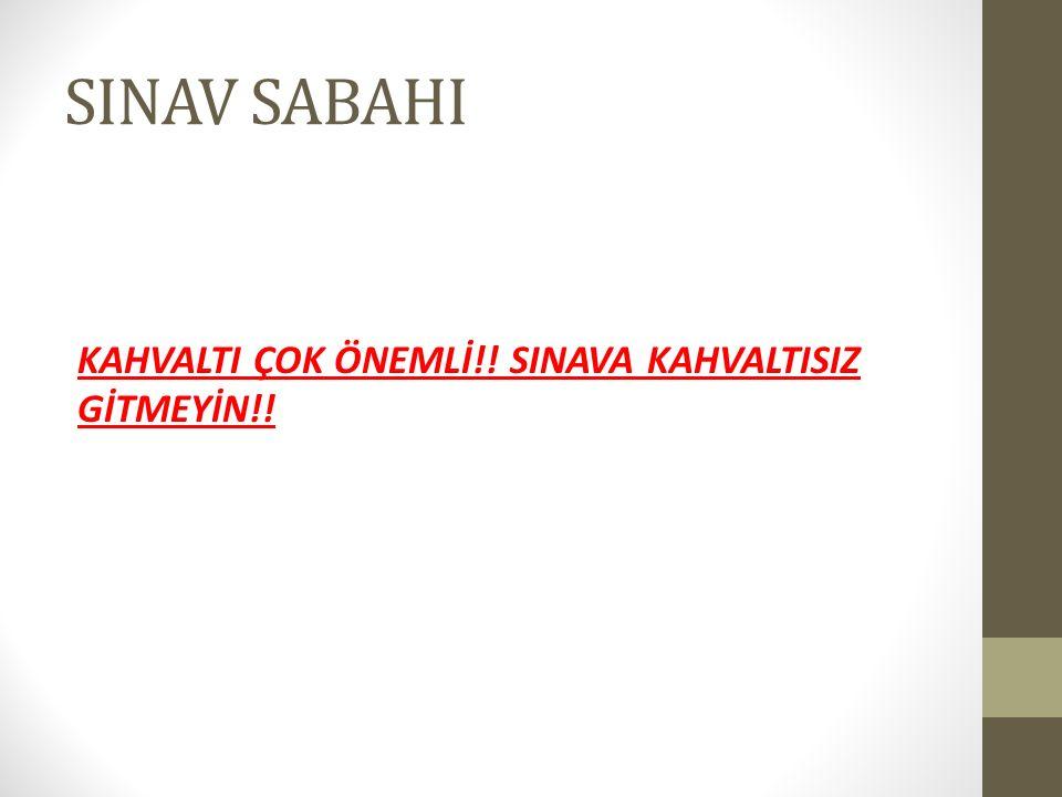 SINAV SABAHI KAHVALTI ÇOK ÖNEMLİ!! SINAVA KAHVALTISIZ GİTMEYİN!!