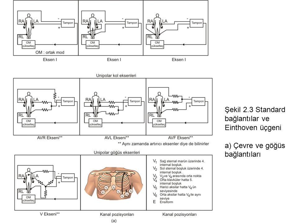 BMM 311 DERS NOTU 2 - ALİ IŞIN, 2014 Şekil 2.3 Standard bağlantılar ve Einthoven üçgeni a) Çevre ve göğüs bağlantıları