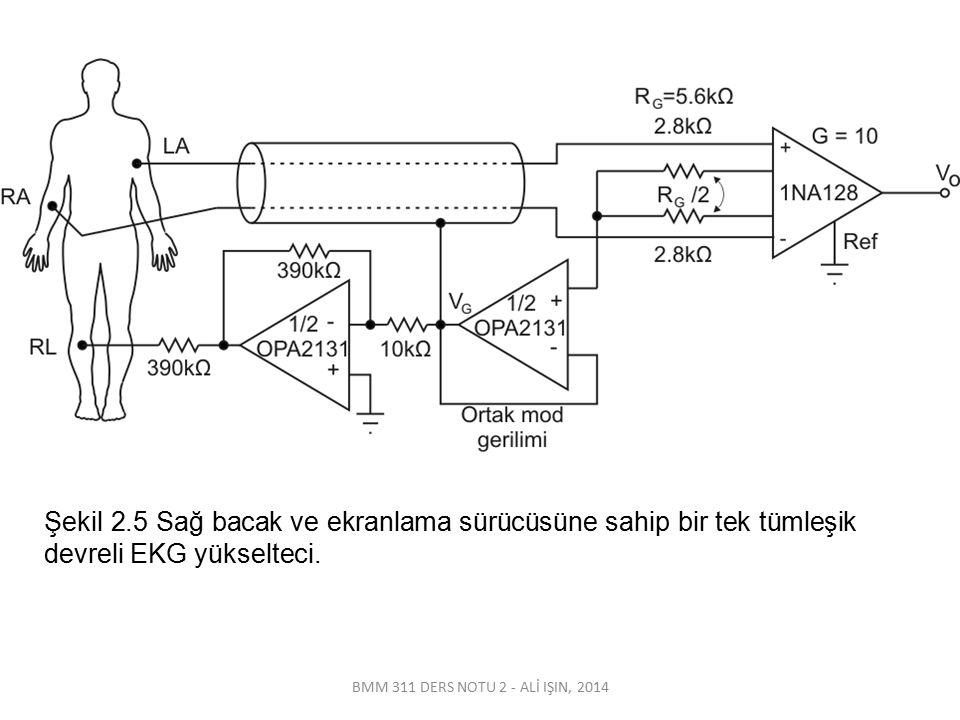 BMM 311 DERS NOTU 2 - ALİ IŞIN, 2014 Şekil 2.5 Sağ bacak ve ekranlama sürücüsüne sahip bir tek tümleşik devreli EKG yükselteci.