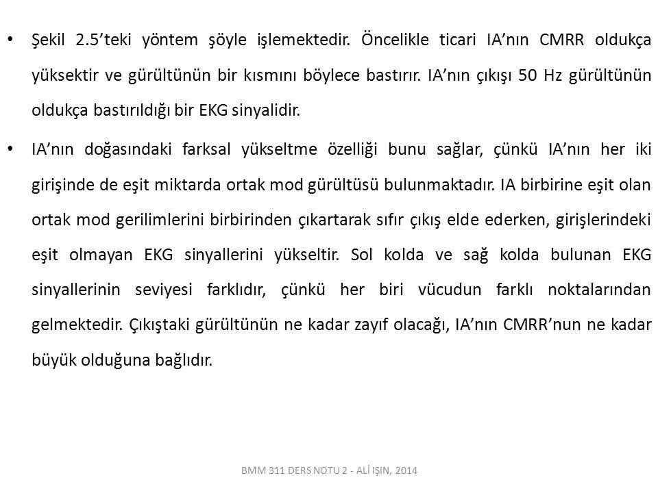 BMM 311 DERS NOTU 2 - ALİ IŞIN, 2014 Şekil 2.5'teki yöntem şöyle işlemektedir. Öncelikle ticari IA'nın CMRR oldukça yüksektir ve gürültünün bir kısmın