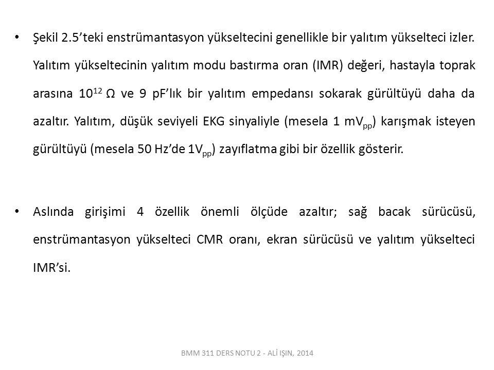 BMM 311 DERS NOTU 2 - ALİ IŞIN, 2014 Şekil 2.5'teki enstrümantasyon yükseltecini genellikle bir yalıtım yükselteci izler. Yalıtım yükseltecinin yalıtı