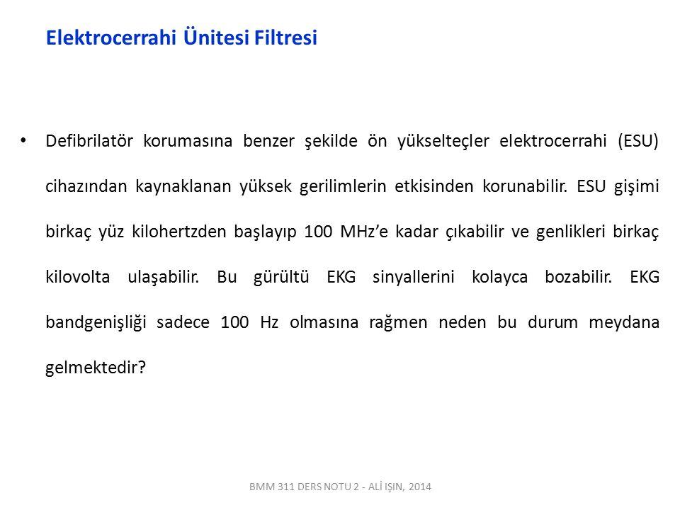 BMM 311 DERS NOTU 2 - ALİ IŞIN, 2014 Elektrocerrahi Ünitesi Filtresi Defibrilatör korumasına benzer şekilde ön yükselteçler elektrocerrahi (ESU) cihaz