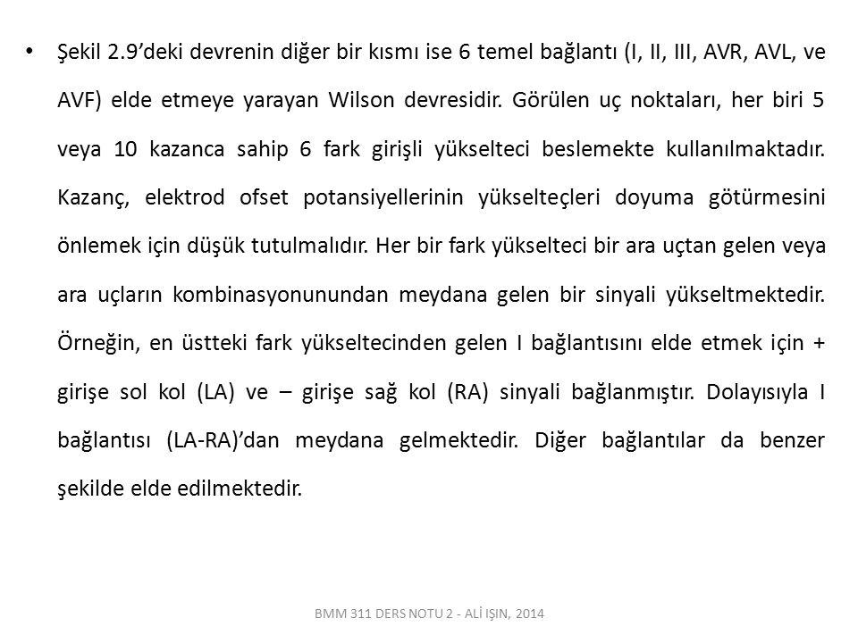 BMM 311 DERS NOTU 2 - ALİ IŞIN, 2014 Şekil 2.9'deki devrenin diğer bir kısmı ise 6 temel bağlantı (I, II, III, AVR, AVL, ve AVF) elde etmeye yarayan W