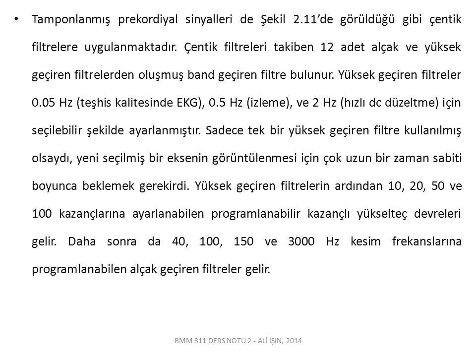 BMM 311 DERS NOTU 2 - ALİ IŞIN, 2014 Tamponlanmış prekordiyal sinyalleri de Şekil 2.11'de görüldüğü gibi çentik filtrelere uygulanmaktadır. Çentik fil