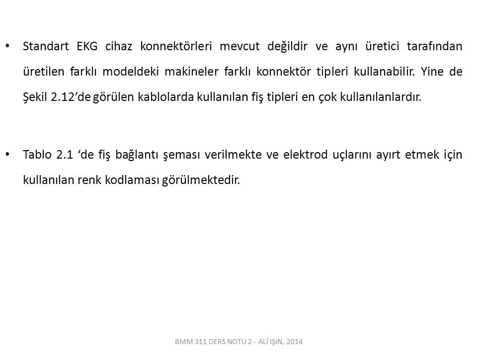 BMM 311 DERS NOTU 2 - ALİ IŞIN, 2014 Standart EKG cihaz konnektörleri mevcut değildir ve aynı üretici tarafından üretilen farklı modeldeki makineler f