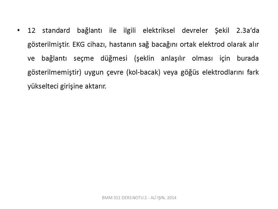 BMM 311 DERS NOTU 2 - ALİ IŞIN, 2014 12 standard bağlantı ile ilgili elektriksel devreler Şekil 2.3a'da gösterilmiştir. EKG cihazı, hastanın sağ bacağ