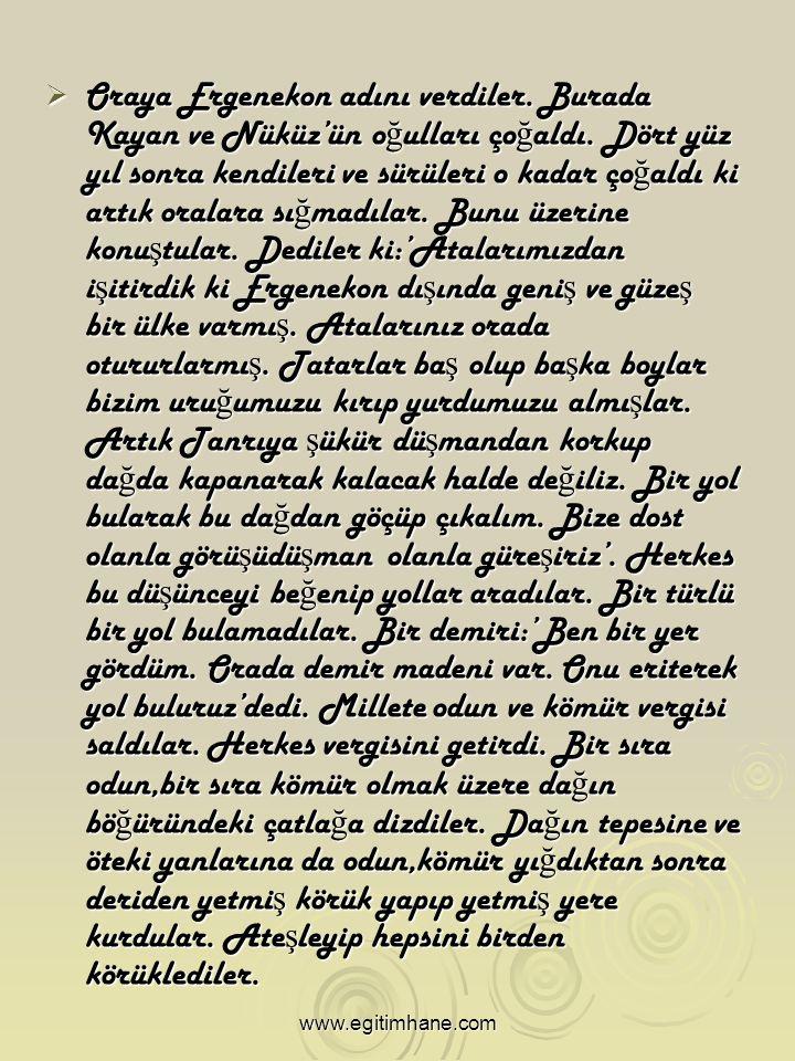 OOOOraya Ergenekon adını verdiler. Burada Kayan ve Nüküz'ün oğulları çoğaldı.