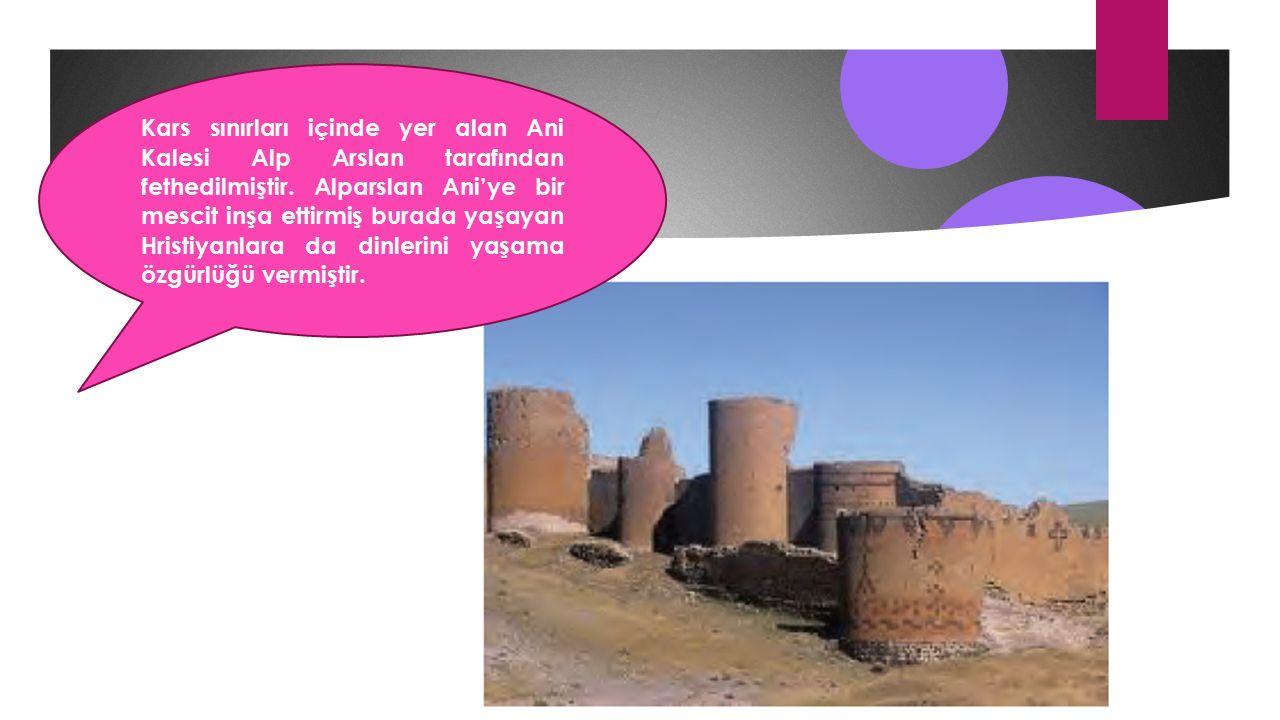 Kars sınırları içinde yer alan Ani Kalesi Alp Arslan tarafından fethedilmiştir.