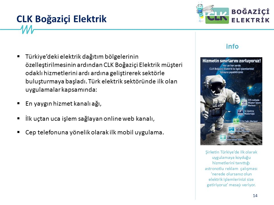 CLK Boğaziçi Elektrik 14 info Şirketin Türkiye'de ilk olarak uygulamaya koyduğu hizmetlerini tanıttığı astronotlu reklam çalışması 'nerede olursanız o