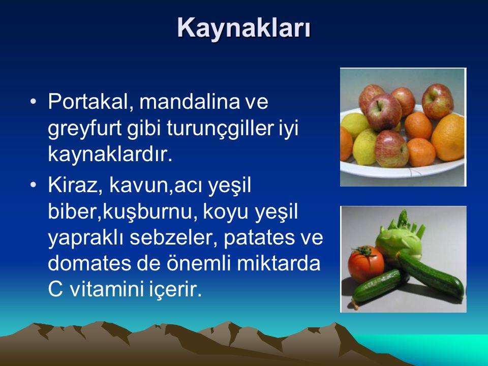 Kaynakları Portakal, mandalina ve greyfurt gibi turunçgiller iyi kaynaklardır. Kiraz, kavun,acı yeşil biber,kuşburnu, koyu yeşil yapraklı sebzeler, pa