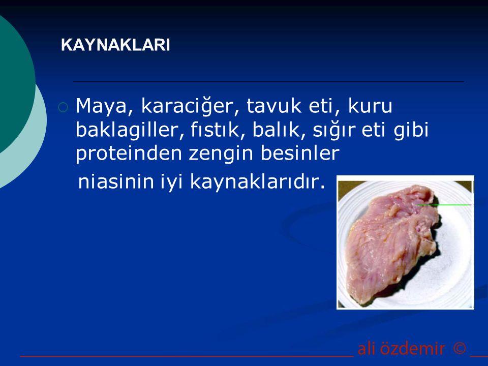 KAYNAKLARI  Maya, karaciğer, tavuk eti, kuru baklagiller, fıstık, balık, sığır eti gibi proteinden zengin besinler niasinin iyi kaynaklarıdır.