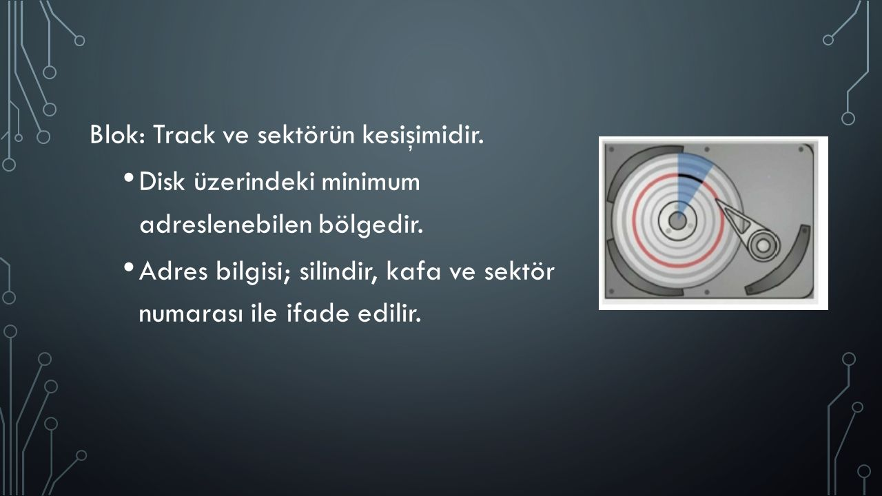 Blok: Track ve sektörün kesişimidir. Disk üzerindeki minimum adreslenebilen bölgedir.