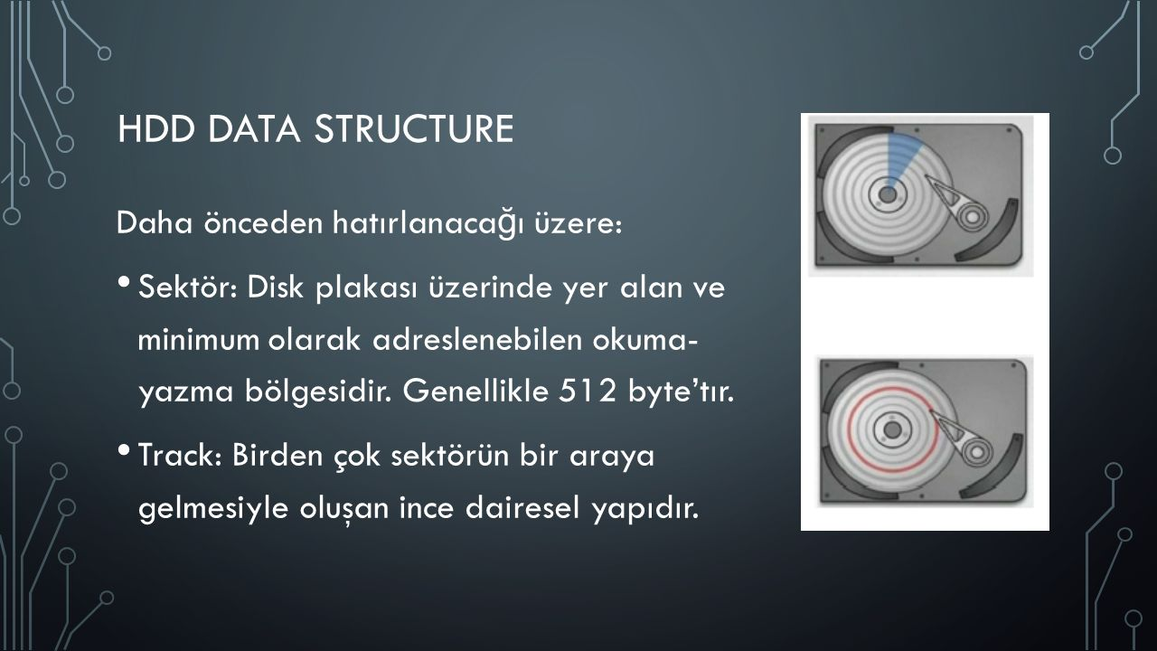 HDD DATA STRUCTURE Daha önceden hatırlanaca ğ ı üzere: Sektör: Disk plakası üzerinde yer alan ve minimum olarak adreslenebilen okuma- yazma bölgesidir.