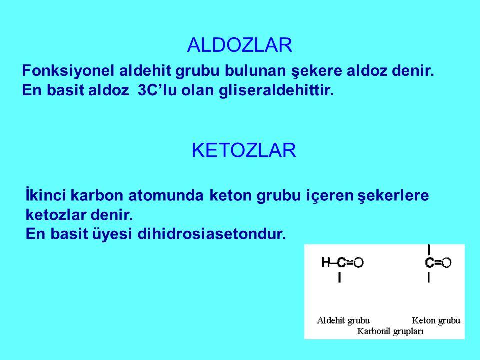 ALDOZLAR Fonksiyonel aldehit grubu bulunan şekere aldoz denir. En basit aldoz 3C'lu olan gliseraldehittir. KETOZLAR İkinci karbon atomunda keton grubu