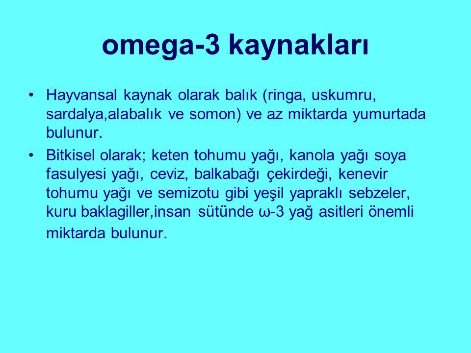 omega-3 kaynakları Hayvansal kaynak olarak balık (ringa, uskumru, sardalya,alabalık ve somon) ve az miktarda yumurtada bulunur. Bitkisel olarak; keten
