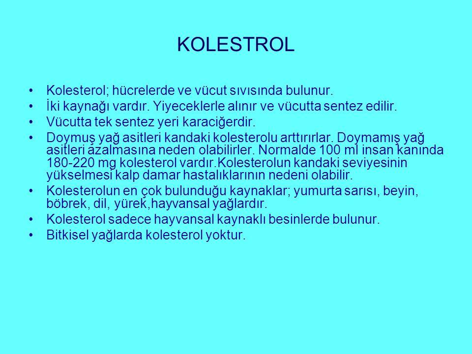KOLESTROL Kolesterol; hücrelerde ve vücut sıvısında bulunur. İki kaynağı vardır. Yiyeceklerle alınır ve vücutta sentez edilir. Vücutta tek sentez yeri