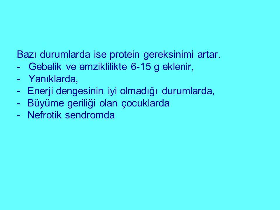 Bazı durumlarda ise protein gereksinimi artar. - Gebelik ve emziklilikte 6-15 g eklenir, - Yanıklarda, -Enerji dengesinin iyi olmadığı durumlarda, -Bü
