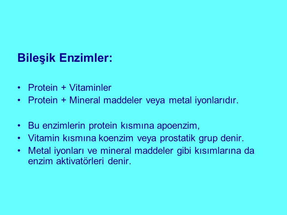 Bileşik Enzimler: Protein + Vitaminler Protein + Mineral maddeler veya metal iyonlarıdır. Bu enzimlerin protein kısmına apoenzim, Vitamin kısmına koen