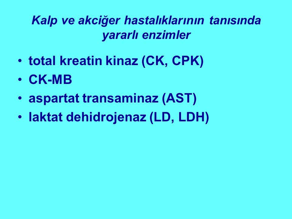 Kalp ve akciğer hastalıklarının tanısında yararlı enzimler total kreatin kinaz (CK, CPK) CK-MB aspartat transaminaz (AST) laktat dehidrojenaz (LD, LDH