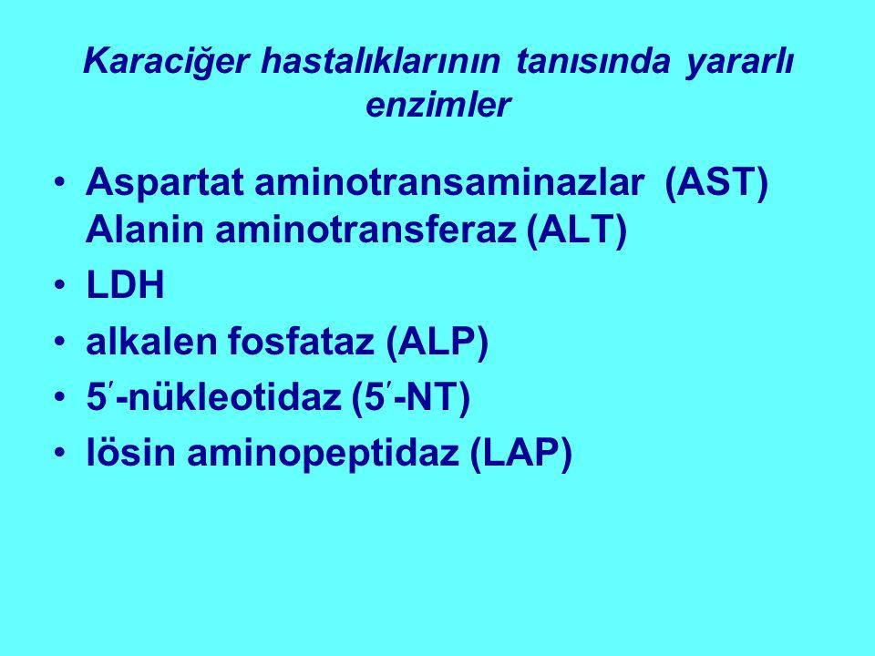 Karaciğer hastalıklarının tanısında yararlı enzimler Aspartat aminotransaminazlar (AST) Alanin aminotransferaz (ALT) LDH alkalen fosfataz (ALP) 5-nükl