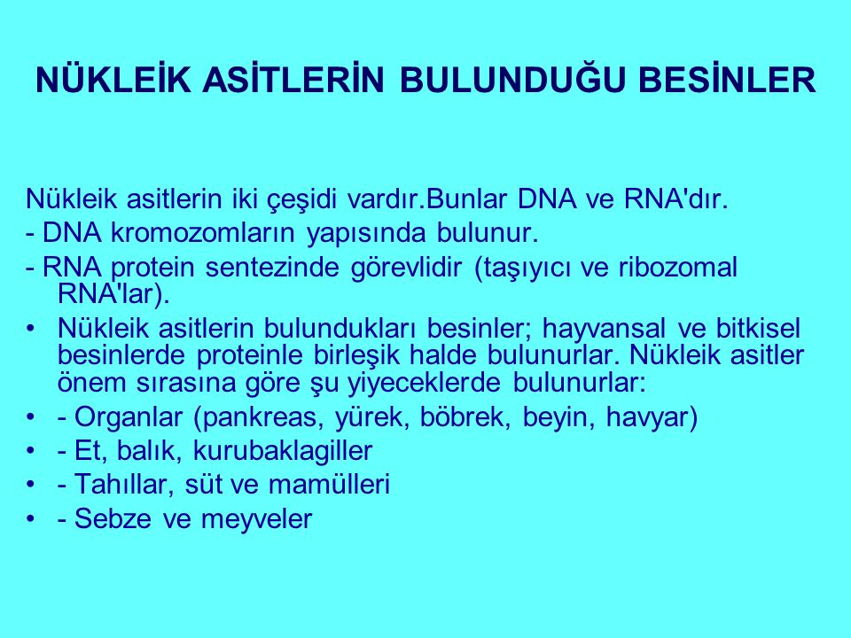 NÜKLEİK ASİTLERİN BULUNDUĞU BESİNLER Nükleik asitlerin iki çeşidi vardır.Bunlar DNA ve RNA'dır. - DNA kromozomların yapısında bulunur. - RNA protein s