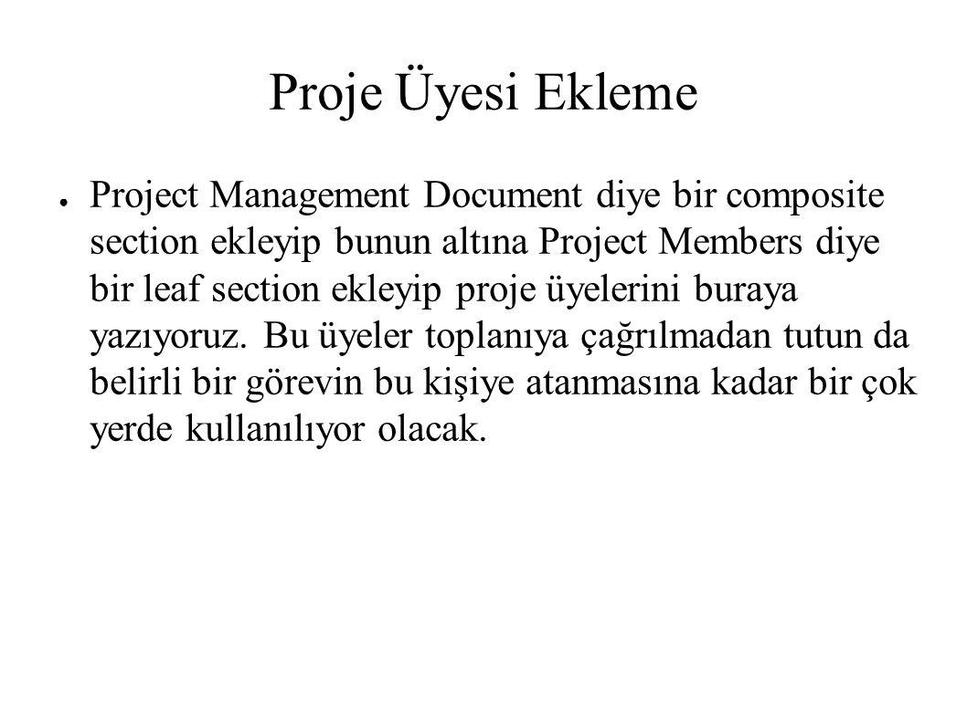 Proje Üyesi Ekleme ● Project Management Document diye bir composite section ekleyip bunun altına Project Members diye bir leaf section ekleyip proje üyelerini buraya yazıyoruz.