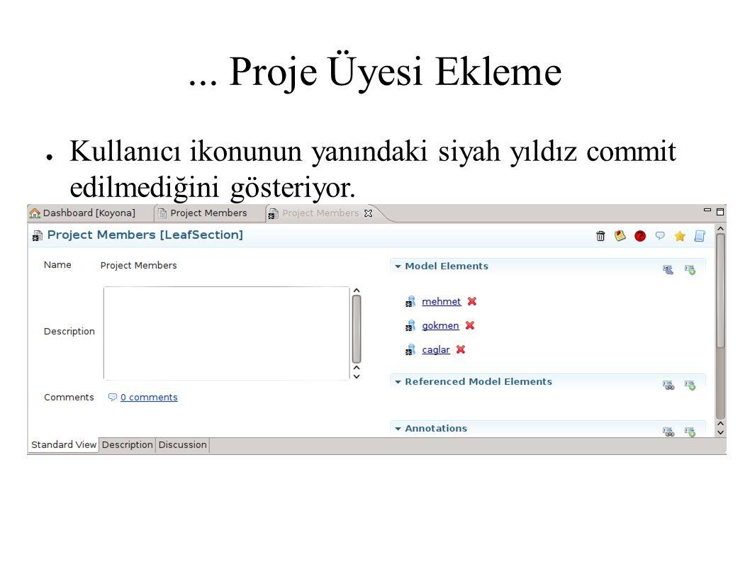 ... Proje Üyesi Ekleme ● Kullanıcı ikonunun yanındaki siyah yıldız commit edilmediğini gösteriyor.