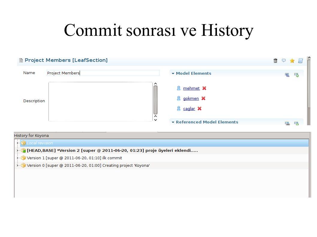 Commit sonrası ve History