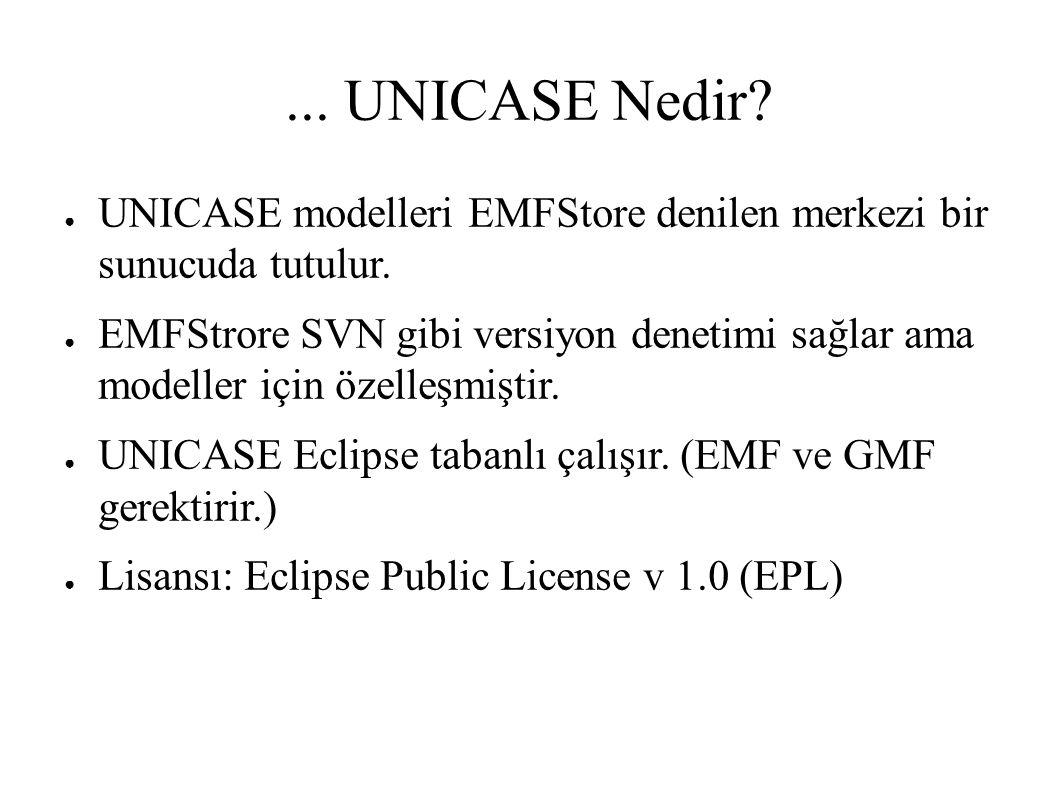 ... UNICASE Nedir. ● UNICASE modelleri EMFStore denilen merkezi bir sunucuda tutulur.