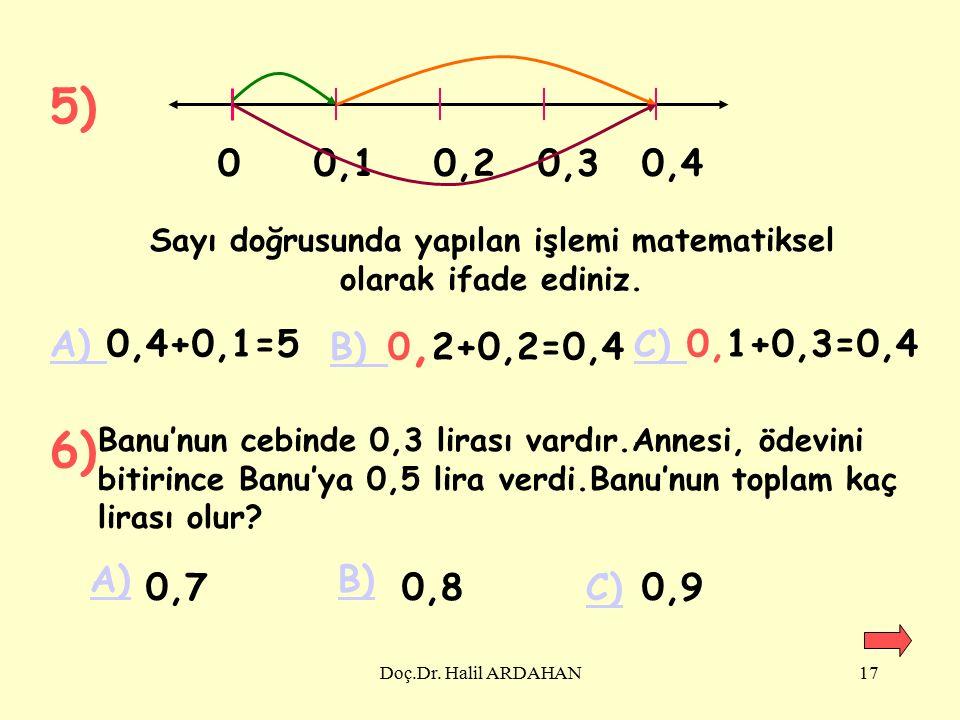 Doç.Dr. Halil ARDAHAN16 UYGULAMALAR 1)0,4+0,3=....