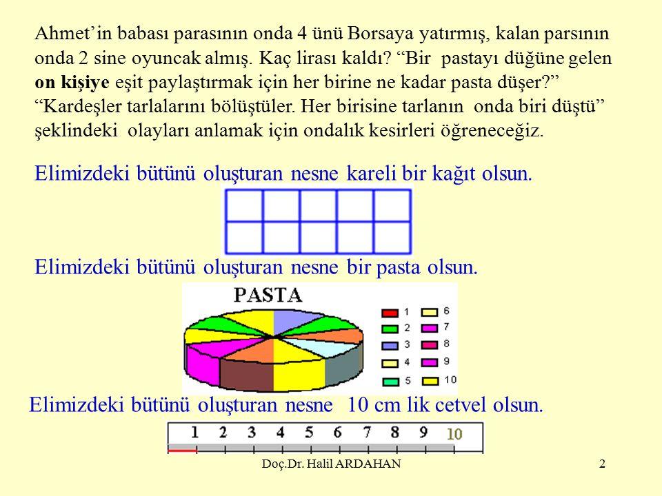 Doç.Dr.Halil ARDAHAN2 Elimizdeki bütünü oluşturan nesne kareli bir kağıt olsun.