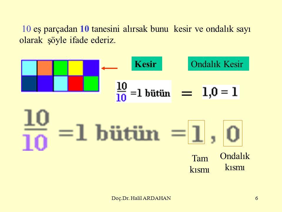 Doç.Dr.Halil ARDAHAN46 2. Bir ondalık sayıyı bir ondalık sayı ile çarpmak Kural.