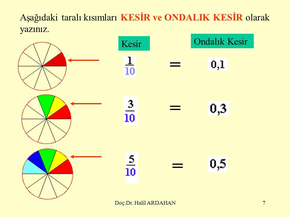 Doç.Dr.Halil ARDAHAN7 Aşağıdaki taralı kısımları KESİR ve ONDALIK KESİR olarak yazınız.
