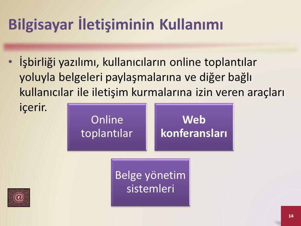 Bilgisayar İletişiminin Kullanımı İşbirliği yazılımı, kullanıcıların online toplantılar yoluyla belgeleri paylaşmalarına ve diğer bağlı kullanıcılar i