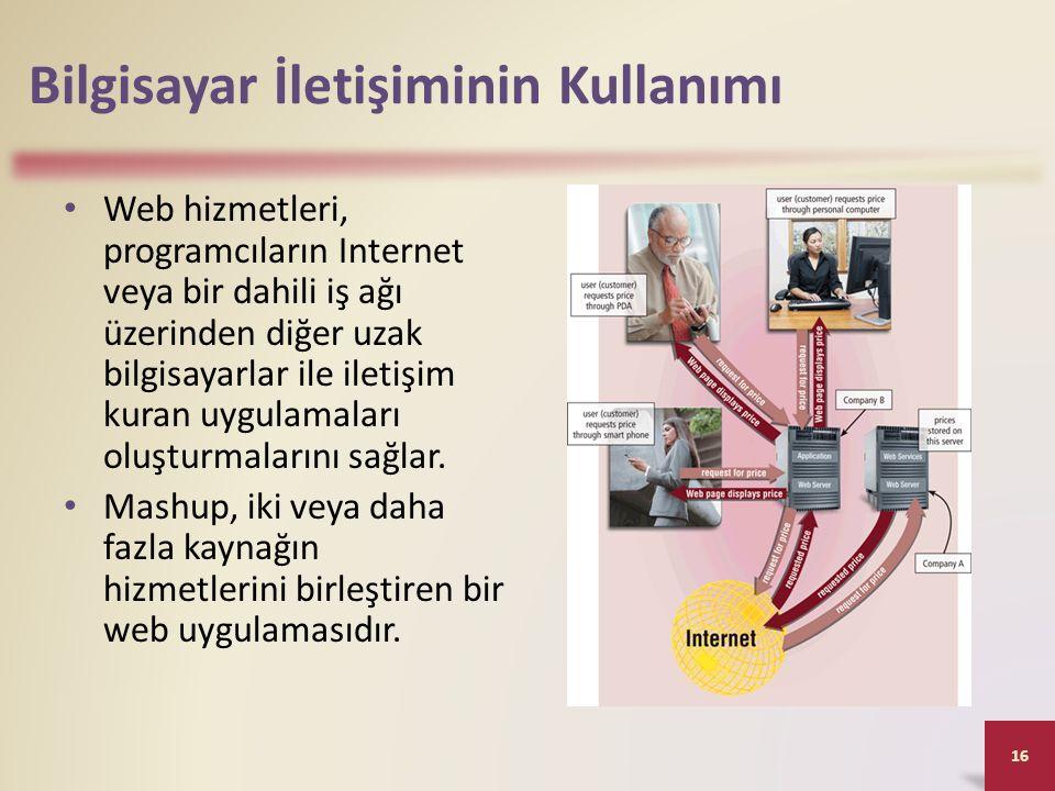 Bilgisayar İletişiminin Kullanımı Web hizmetleri, programcıların Internet veya bir dahili iş ağı üzerinden diğer uzak bilgisayarlar ile iletişim kuran