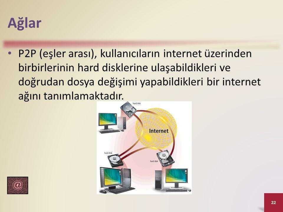 Ağlar P2P (eşler arası), kullanıcıların internet üzerinden birbirlerinin hard disklerine ulaşabildikleri ve doğrudan dosya değişimi yapabildikleri bir