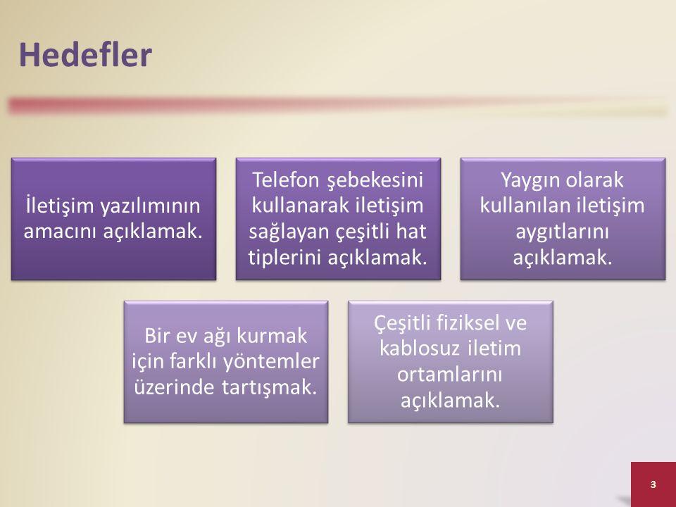 Hedefler İletişim yazılımının amacını açıklamak. Telefon şebekesini kullanarak iletişim sağlayan çeşitli hat tiplerini açıklamak. Yaygın olarak kullan
