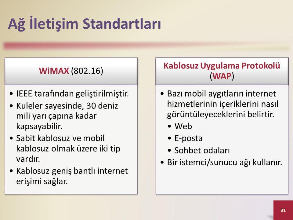 Ağ İletişim Standartları WiMAX (802.16) IEEE tarafından geliştirilmiştir. Kuleler sayesinde, 30 deniz mili yarı çapına kadar kapsayabilir. Sabit kablo