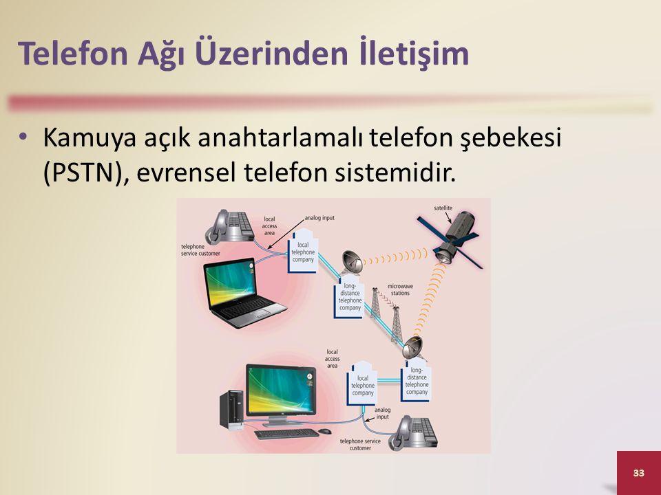 Telefon Ağı Üzerinden İletişim Kamuya açık anahtarlamalı telefon şebekesi (PSTN), evrensel telefon sistemidir. 33