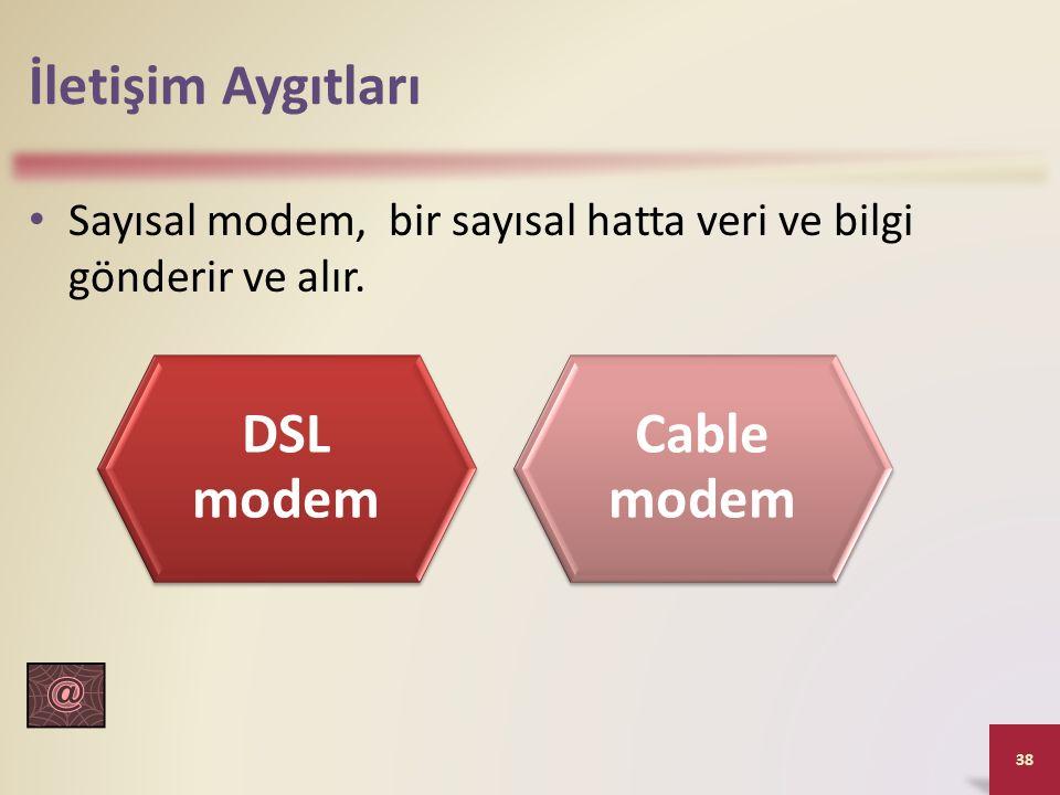 İletişim Aygıtları Sayısal modem, bir sayısal hatta veri ve bilgi gönderir ve alır. 38 DSL modem Cable modem