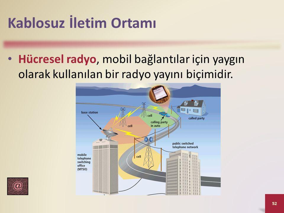 Kablosuz İletim Ortamı Hücresel radyo, mobil bağlantılar için yaygın olarak kullanılan bir radyo yayını biçimidir. 52