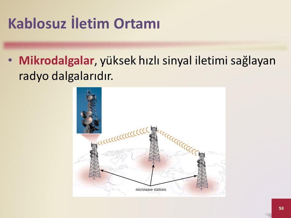 Kablosuz İletim Ortamı Mikrodalgalar, yüksek hızlı sinyal iletimi sağlayan radyo dalgalarıdır. 53