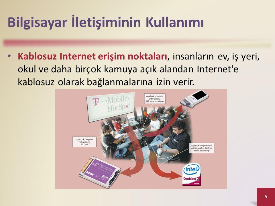 Bilgisayar İletişiminin Kullanımı Kablosuz Internet erişim noktaları, insanların ev, iş yeri, okul ve daha birçok kamuya açık alandan Internet'e kablo