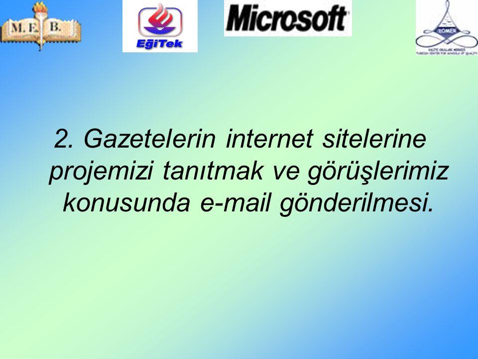 2. Gazetelerin internet sitelerine projemizi tanıtmak ve görüşlerimiz konusunda e-mail gönderilmesi.
