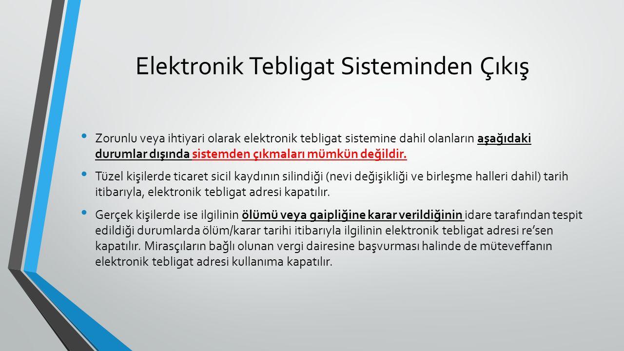 Elektronik Tebligat Sisteminden Çıkış Zorunlu veya ihtiyari olarak elektronik tebligat sistemine dahil olanların aşağıdaki durumlar dışında sistemden çıkmaları mümkün değildir.