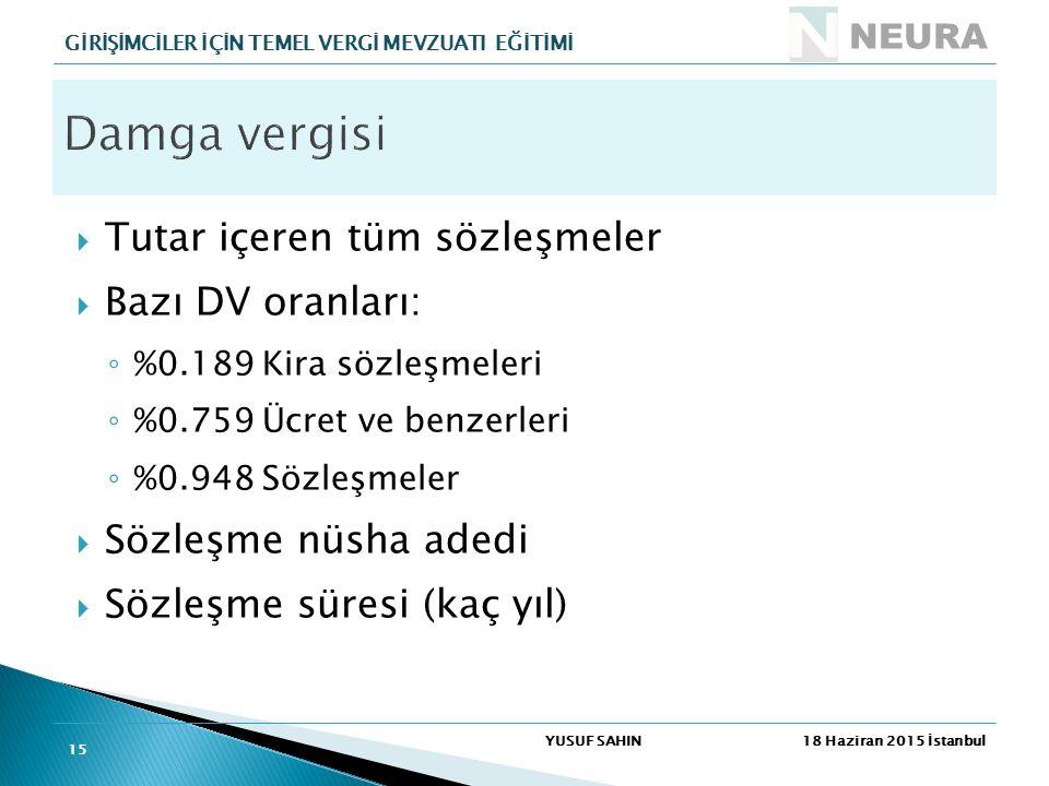  Tutar içeren tüm sözleşmeler  Bazı DV oranları: ◦ %0.189 Kira sözleşmeleri ◦ %0.759 Ücret ve benzerleri ◦ %0.948 Sözleşmeler  Sözleşme nüsha adedi
