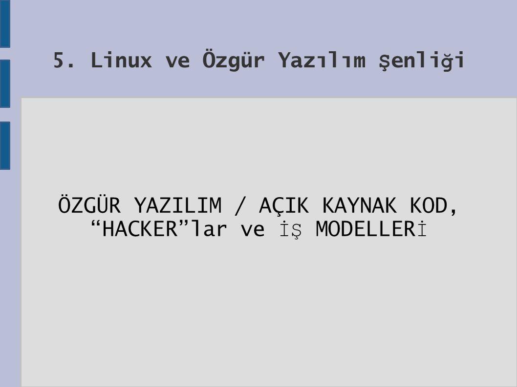 5. Linux ve Özgür Yazılım Ş enli ğ i ÖZGÜR YAZILIM / AÇIK KAYNAK KOD, HACKER lar ve İŞ MODELLER İ