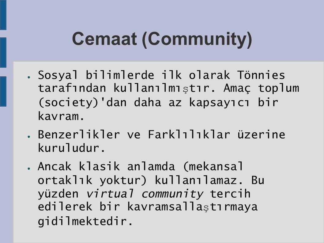 Cemaat (Community) ● Sosyal bilimlerde ilk olarak Tönnies tarafından kullanılmı ş tır.