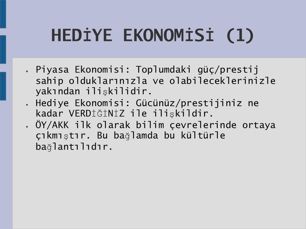 HED İ YE EKONOM İ S İ (1) ● Piyasa Ekonomisi: Toplumdaki güç/prestij sahip olduklarınızla ve olabileceklerinizle yakından ili ş kilidir.